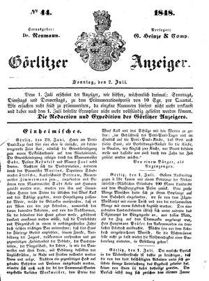 Görlitzer Anzeiger vom 02.07.1848