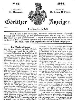 Görlitzer Anzeiger vom 04.07.1848