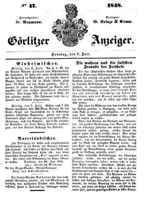 Görlitzer Anzeiger vom 09.07.1848