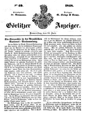Görlitzer Anzeiger vom 13.07.1848