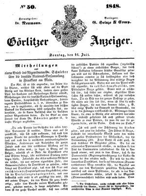 Görlitzer Anzeiger vom 16.07.1848