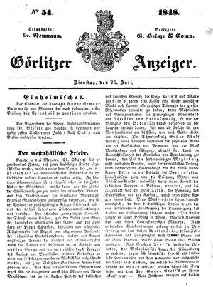 Görlitzer Anzeiger vom 25.07.1848