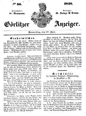 Görlitzer Anzeiger vom 27.07.1848