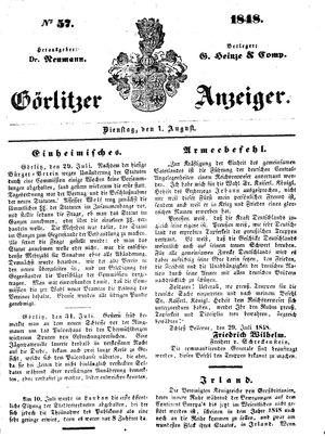 Görlitzer Anzeiger vom 01.08.1848