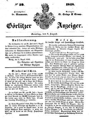Görlitzer Anzeiger vom 06.08.1848