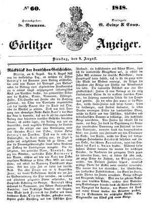 Görlitzer Anzeiger vom 08.08.1848