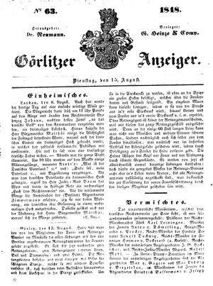 Görlitzer Anzeiger vom 15.08.1848