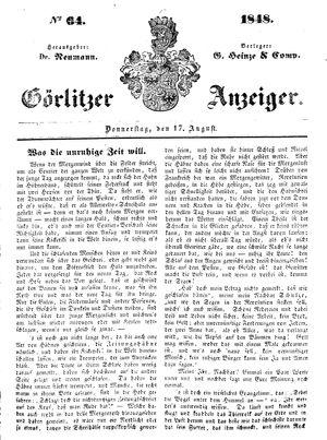 Görlitzer Anzeiger vom 17.08.1848