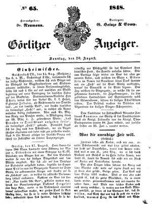 Görlitzer Anzeiger vom 20.08.1848