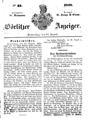 Görlitzer Anzeiger vom 24.08.1848