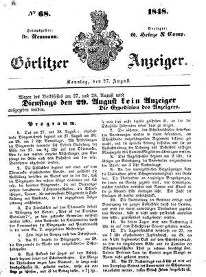 Görlitzer Anzeiger vom 27.08.1848