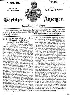 Görlitzer Anzeiger vom 31.08.1848