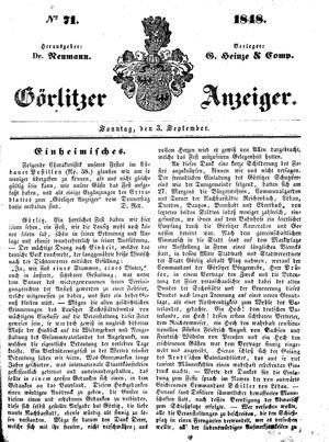 Görlitzer Anzeiger vom 03.09.1848