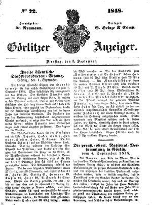 Görlitzer Anzeiger vom 05.09.1848