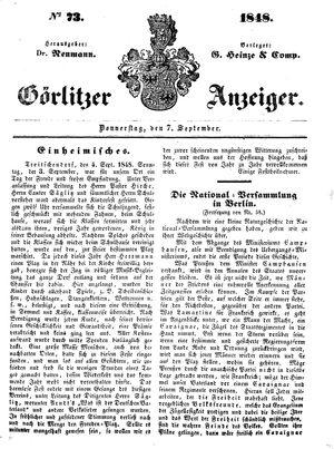 Görlitzer Anzeiger vom 07.09.1848