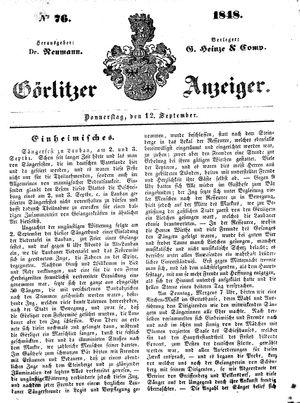 Görlitzer Anzeiger on Sep 14, 1848