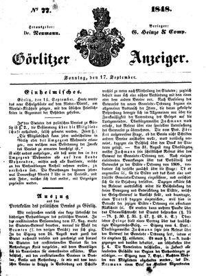 Görlitzer Anzeiger vom 17.09.1848