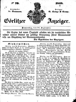 Görlitzer Anzeiger vom 21.09.1848