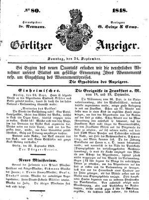 Görlitzer Anzeiger vom 24.09.1848