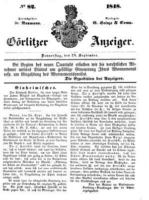 Görlitzer Anzeiger vom 28.09.1848