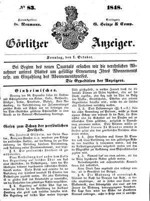 Görlitzer Anzeiger vom 01.10.1848