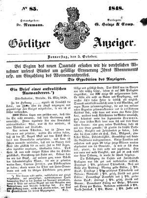 Görlitzer Anzeiger vom 05.10.1848