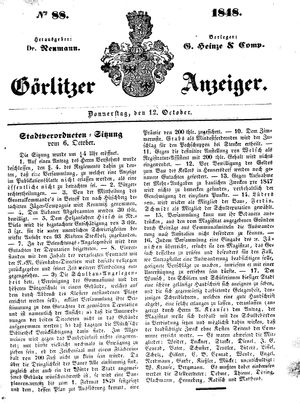 Görlitzer Anzeiger vom 12.10.1848