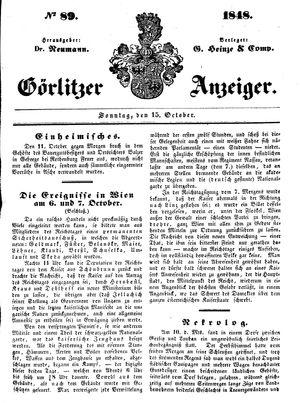 Görlitzer Anzeiger vom 15.10.1848
