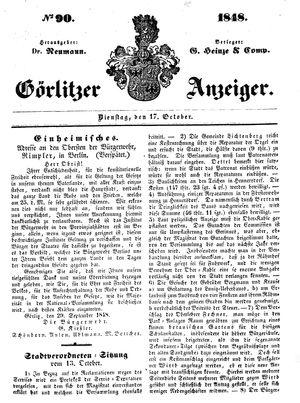 Görlitzer Anzeiger vom 17.10.1848