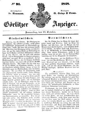 Görlitzer Anzeiger vom 19.10.1848