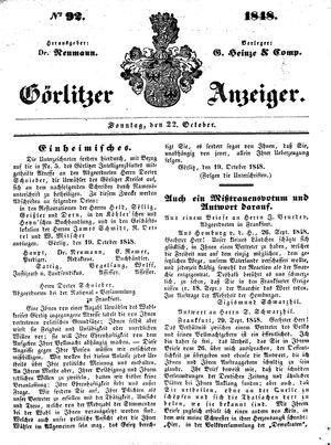 Görlitzer Anzeiger vom 22.10.1848