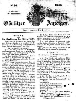 Görlitzer Anzeiger vom 26.10.1848