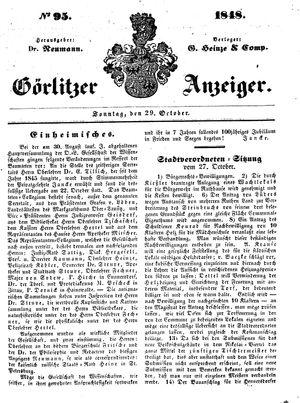 Görlitzer Anzeiger vom 29.10.1848