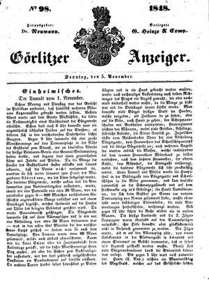 Görlitzer Anzeiger vom 05.11.1848