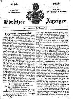 Görlitzer Anzeiger vom 07.11.1848