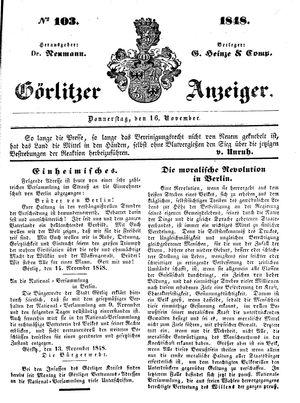 Görlitzer Anzeiger vom 16.11.1848
