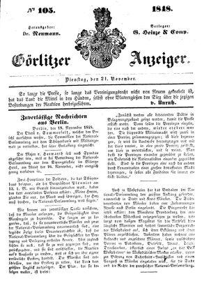 Görlitzer Anzeiger vom 21.11.1848
