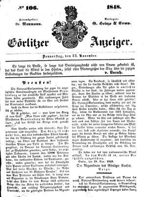 Görlitzer Anzeiger vom 23.11.1848