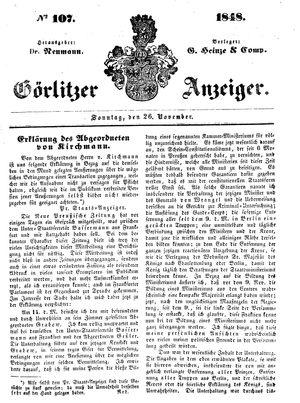 Görlitzer Anzeiger vom 26.11.1848