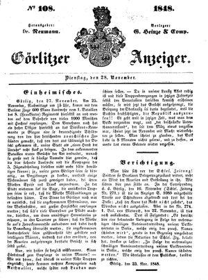 Görlitzer Anzeiger vom 28.11.1848