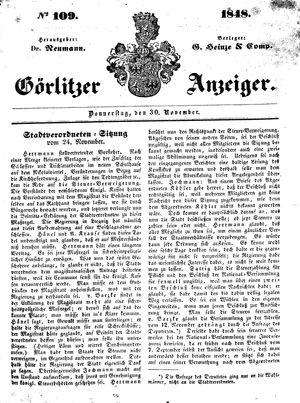 Görlitzer Anzeiger vom 30.11.1848