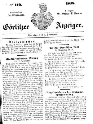 Görlitzer Anzeiger vom 03.12.1848