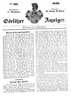 Görlitzer Anzeiger vom 05.12.1848