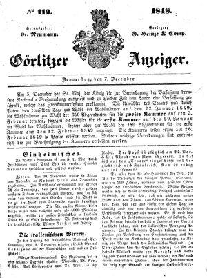 Görlitzer Anzeiger vom 07.12.1848
