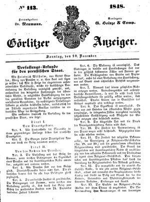 Görlitzer Anzeiger vom 10.12.1848