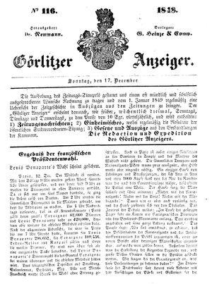Görlitzer Anzeiger vom 17.12.1848