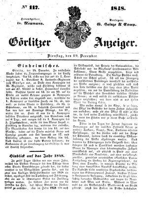 Görlitzer Anzeiger vom 19.12.1848