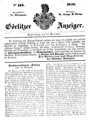Görlitzer Anzeiger on Dec 21, 1848