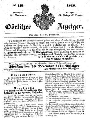 Görlitzer Anzeiger vom 24.12.1848