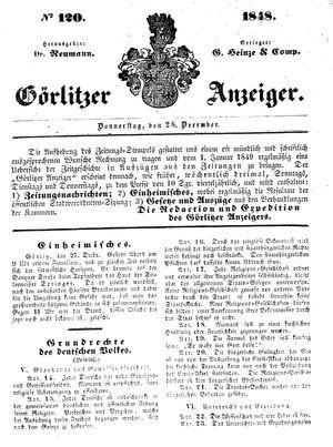 Görlitzer Anzeiger on Dec 28, 1848